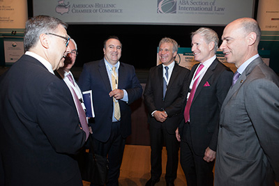 Mr. Kounoupis with the Chairs of the ABA of International Law and the President of the Greek Chamber.